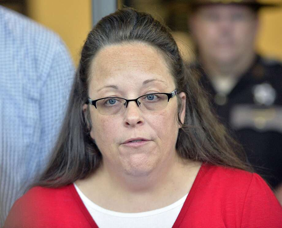 Rowan County Clerk Kim Davis announced that her office will issue marriage licenses under order of a federal judge, but without her name or office listed. Photo: Timothy D. Easley, Associated Press