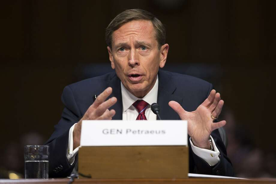 Former CIA Director David Petraeus testifies before the Senate Armed Services Committee hearing on Middle East policy. Petraeus also apologized for sharing classified information. Photo: Evan Vucci, Associated Press