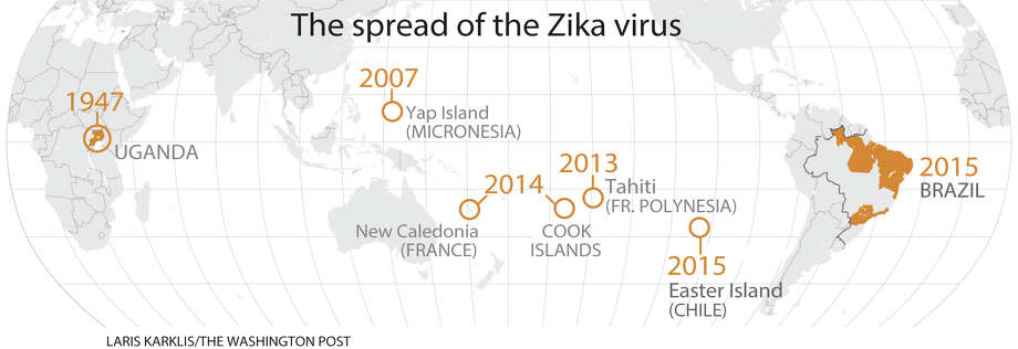 Where the Zika virus has spread; the newly emerging virus is transmitted  by insect bites and sexual contact. Photo: Washington Post Graphic By Laris Karklis