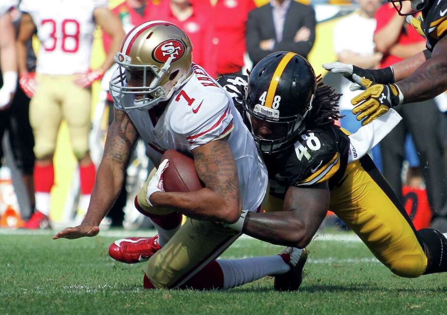 Steelers rookie outside linebacker Bud Dupree beat 49ers right tackle Erik Pears to sack Colin Kaepernick on Sunday. It was Pittsburgh's fifth and final sack. Photo: Justin K. Aller / Getty Images / 2015 Getty Images