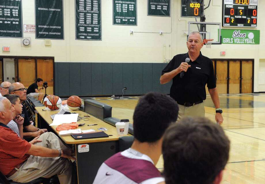 Former UConn men's basketball coach Jim Calhoun speaks during the Howard Garfinkel coaching clinic at Shenendehowa High School on Saturday Sept. 19, 2015 in Clifton Park, N.Y.  (Michael P. Farrell/Times Union) Photo: Michael P. Farrell / 00033424A
