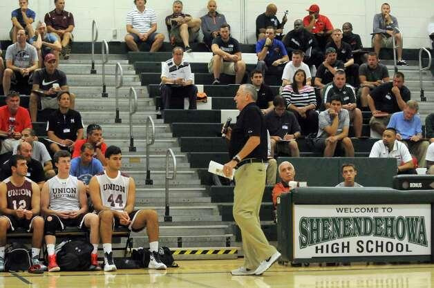 Former UConn men's basketball coach Jim Calhoun speaks during the Howard Garfinkel coaching clinic at Shenendehowa High School on Saturday Sept. 19, 2015 in Clifton Park, N.Y.  (Michael P. Farrell/Times Union) Photo: Michael P. Farrell / 00033424A