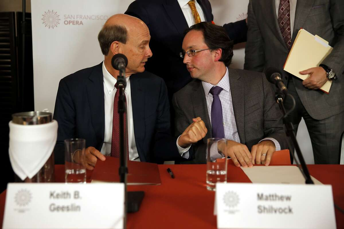 Matthew Shilvock (right) chats with Keith Geeslin after being introduced as the new general director of the San Francisco Opera at a news conference at War Memorial Opera House in San Francisco, California, on Tuesday, Sept. 22, 2015.
