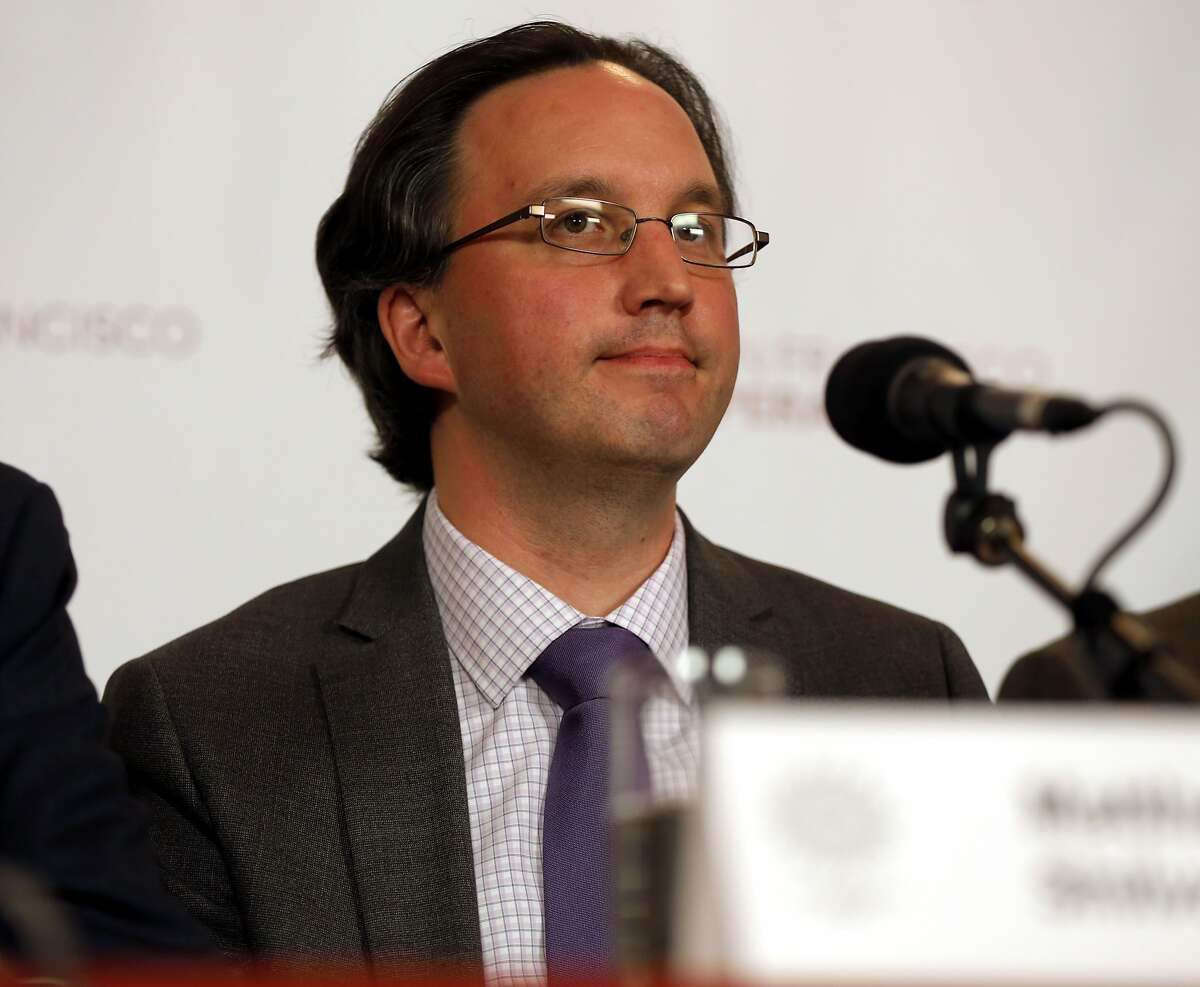 Matthew Shilvock being introduced as the new general director of the San Francisco Opera at a news conference at War Memorial Opera House in San Francisco, California, on Tuesday, Sept. 22, 2015.