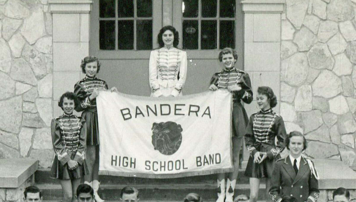 The Bandera High School Band poses for a group portrait in 1954.