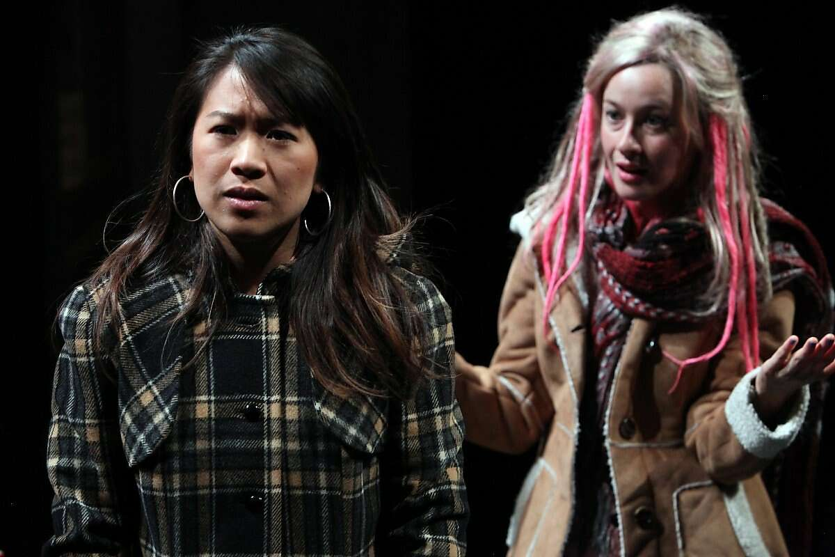 """Waitresses Melissa (Katherine Chin, left) land Chloe (Jessi Campbell) talk about Chloe's crazy morning shift in """"Fred's Diner"""" at the Magic Theatre"""