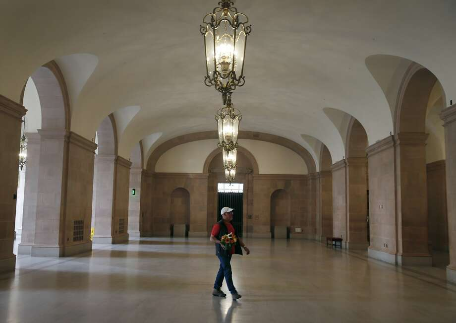 A visitor walks through the lobby of the newly renovated War Memorial Veterans Building in San Francisco, Calif. on Tuesday, Sept. 22, 2015. Photo: Paul Chinn, The Chronicle