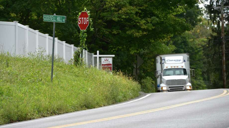 Poor sight lines for drivers turning onto Route 107 from Goodsell Hill Road was one factor Redding officials considered when deciding to launch a six-month trial to improve safety at the intersection. Photo: H John Voorhees III / Hearst Connecticut Media / The News-Times