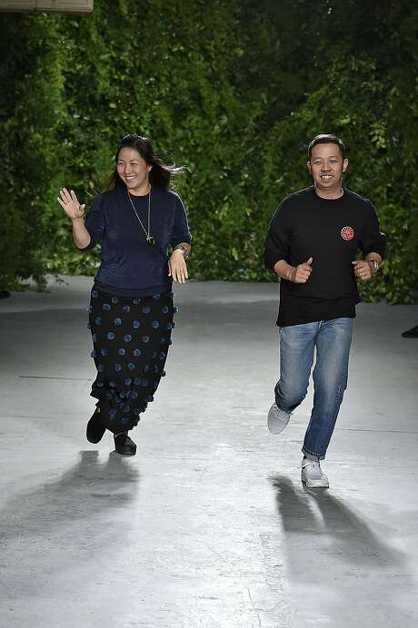 Fashion designers Carol Lim and Humberto Leon walks the runway at the Opening Ceremony Spring Summer 2016 fashion show during the New York Fashion Week on September 13, 2015 in New York City. Photo: Victor VIRGILE, Gamma-Rapho Via Getty Images