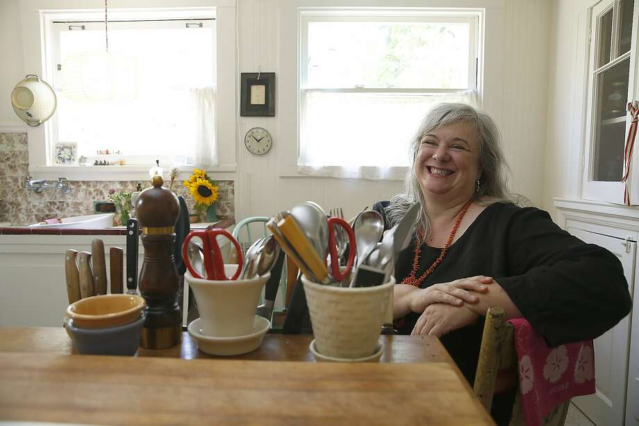 "Writer Dana Velden  has a new book, ""Finding Yourself in the Kitchen"". about her Zen practice and her life in the kitchen at home in Oakland, Calif., on Friday, September 21, 2015. Photo: Liz Hafalia, The Chronicle"