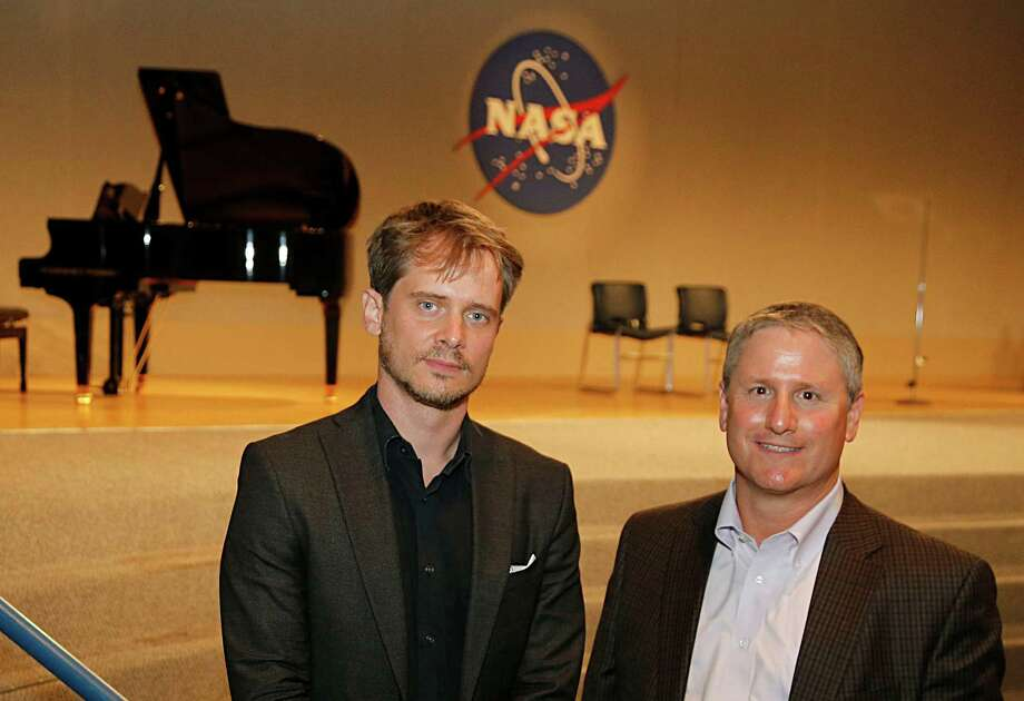 Houston Grand Opera composer Gregory Spears left, and Space Shuttle program engineer David Rose and pose for a portrait after the special preview of HGO's  original opera O Columbia, which is based in part on the Columbia shuttle tragedy. Photo: James Nielsen, Staff / © 2015  Houston Chronicle