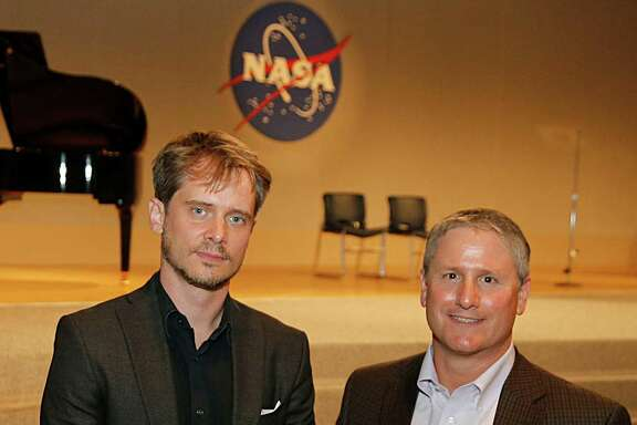 Houston Grand Opera composer Gregory Spears left, and Space Shuttle program engineer David Rose and pose for a portrait after the special preview of HGO's  original opera O Columbia, which is based in part on the Columbia shuttle tragedy.