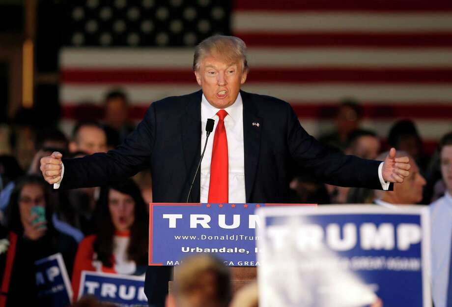 GOP candidate Donald Trump attacked ads portraying him as liberal. Photo: Charlie Neibergall, STF / AP