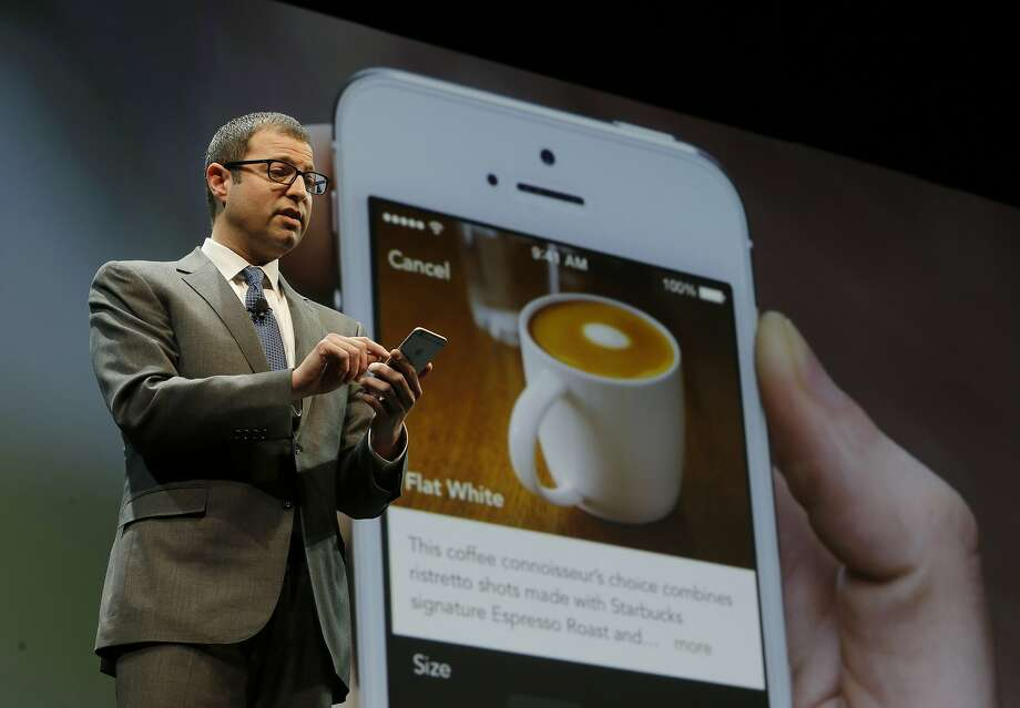 Adam Brotman, Starbucks chief digital officer, discusses the mobile ordering feature in March. Photo: Ted S. Warren, Associated Press