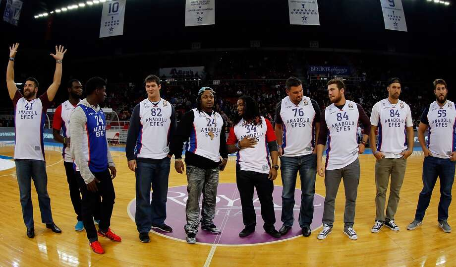 NFL stars Marshawn Lynch, DeAngelo Williams, Gary Barnidge, Thomas Keiser, Alex Mack, Jordan Cameron, Barkevious Minga, Johnson Bademasi, Cooper Helfet, Will Sivtek and Erik Loriy appeared at Abdi Ipekci Arena to support Anadolu Efes against Laboral Kutxa Vitoria at the Turkish Airlines Euroleague Basketball Top 16 Date 8 game between Anadolu Efes Istanbul v Laboral Kutxa Vitoria at Abdi Ipekci Arena on February 27, 2015 in Istanbul, Turkey. (Photo by Aykut Akici/EB via Getty Images) Photo: GETTY IMAGES