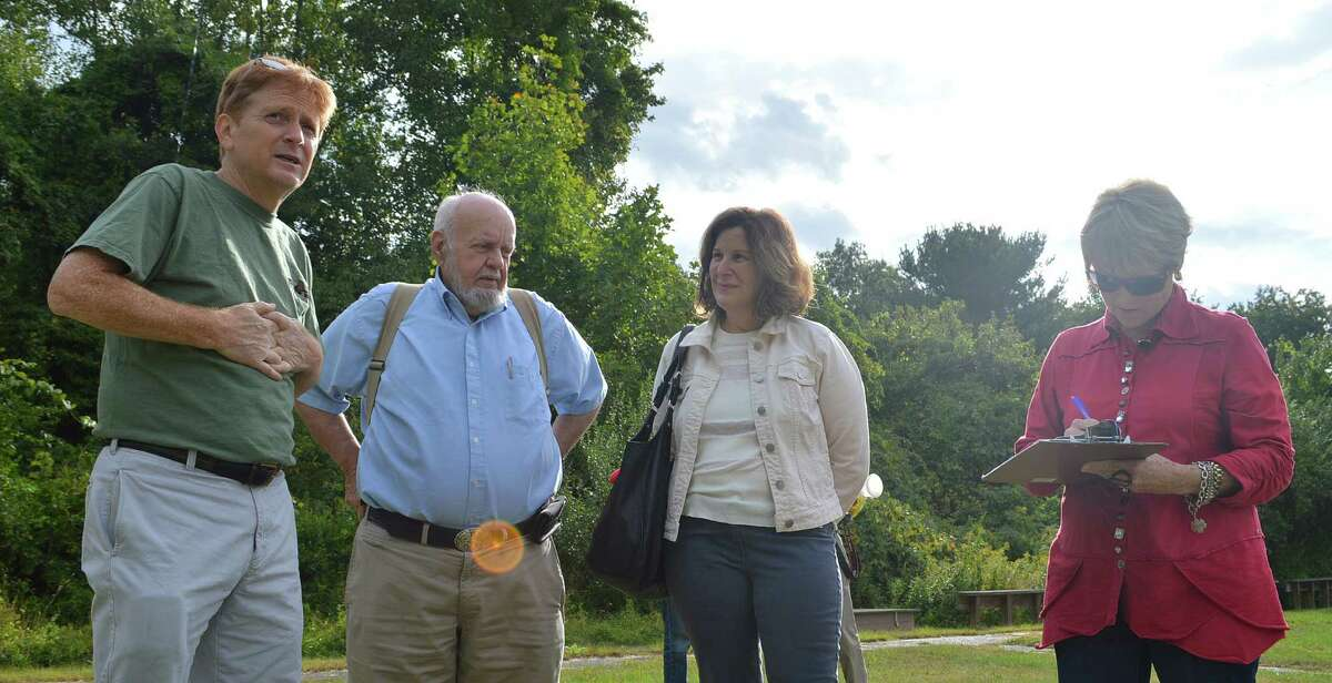 Tuesday's tour of the former Nike missile radar installation was led by Kevin Green, left, board member of the Westport Astronomical Society, joined by Bob Smith, industrial archaeologist: Janet Rubel, Historic District Commission member, and Cece Saunders, archaeologist and historic investigator.