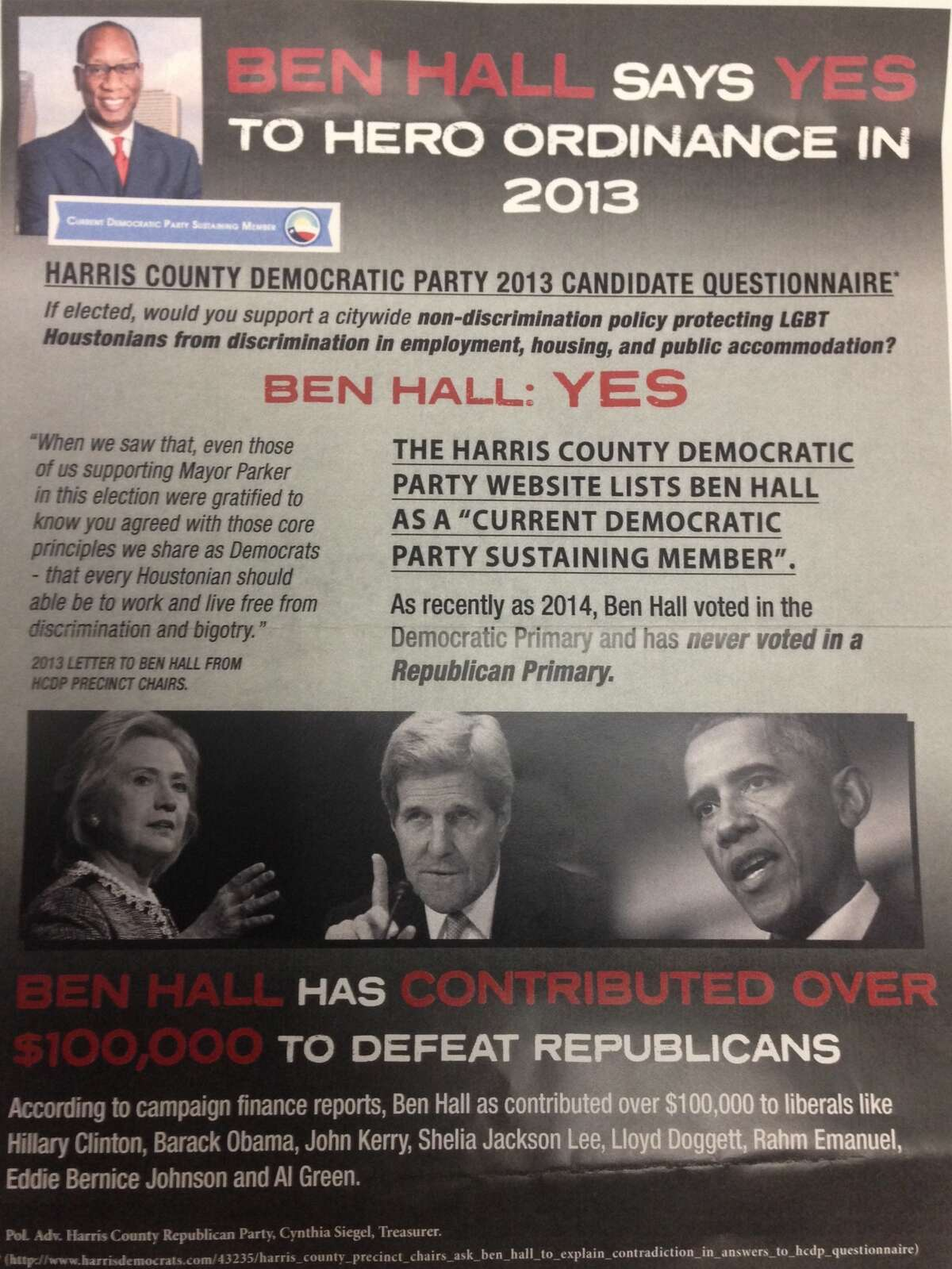 Harris County Republican Party flyer criticizes Houston mayoral candidate Ben Hall's record.