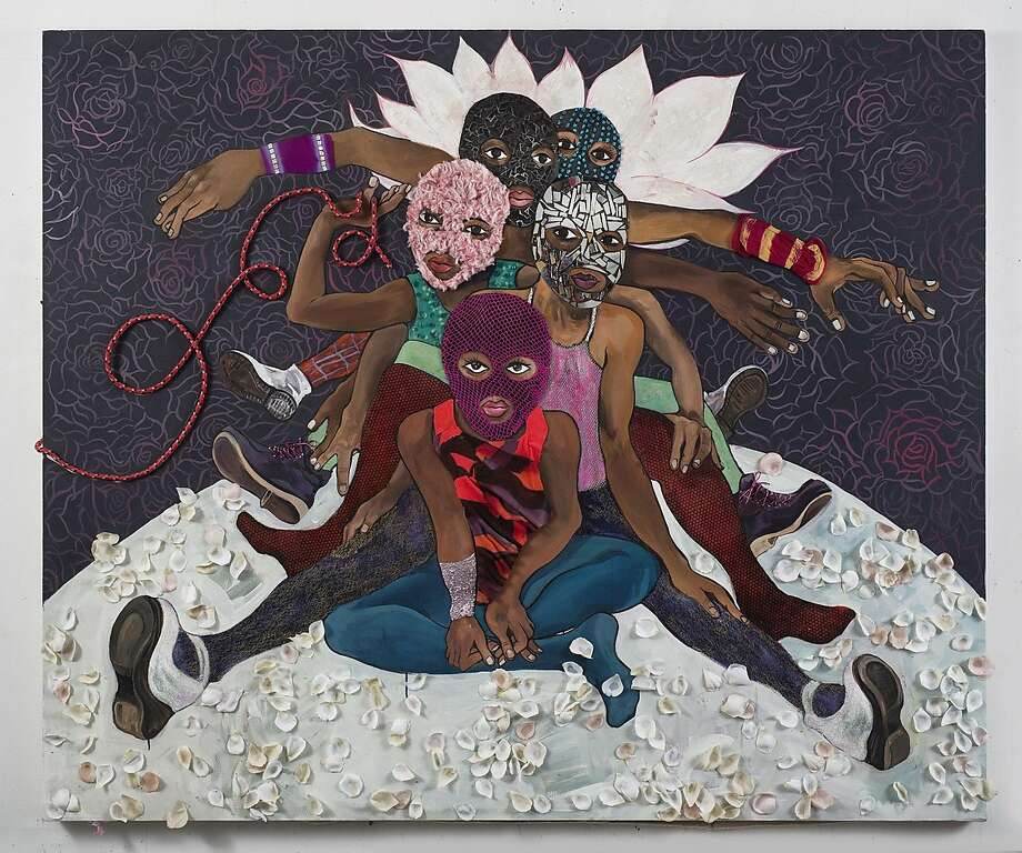 "Chitra Ganesh's 2015 60-by-72-inch mixed media work ""Pussy Riot"" incorporates acrylic paint, fake fur, leather, rope, fabric and tinted plastic, among other materials. It appears in ""Chitra Ganesh: Protest Fantasies"" through Oct. 31 at Gallery Wendi Norris.   Credit: Courtesy of Chitra Ganesh and Gallery Wendi Norris, San Francisco Photo: Courtesy Of Chitra Ganesh And Ga"
