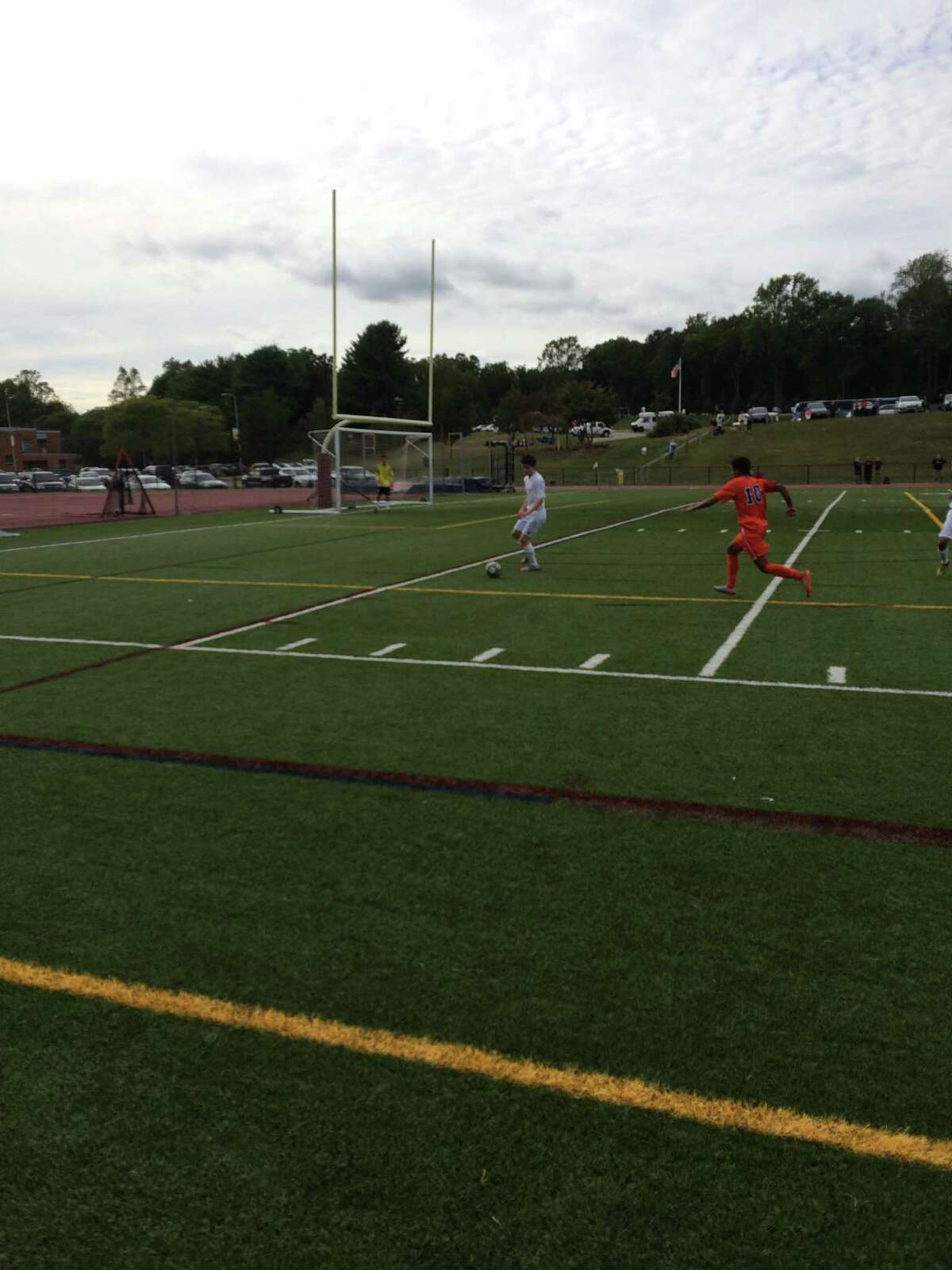 St. Joseph, in white, hosted Danbury in a FCIAC soccer match Tuesday in Trumbull.