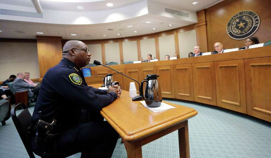 Houston Police Chief Charles McClelland told the Senate Criminal Justice Committee about how his agency handles mentally ill offenders and diverts them from the city jail. Photo: Eric Gay, STF / AP