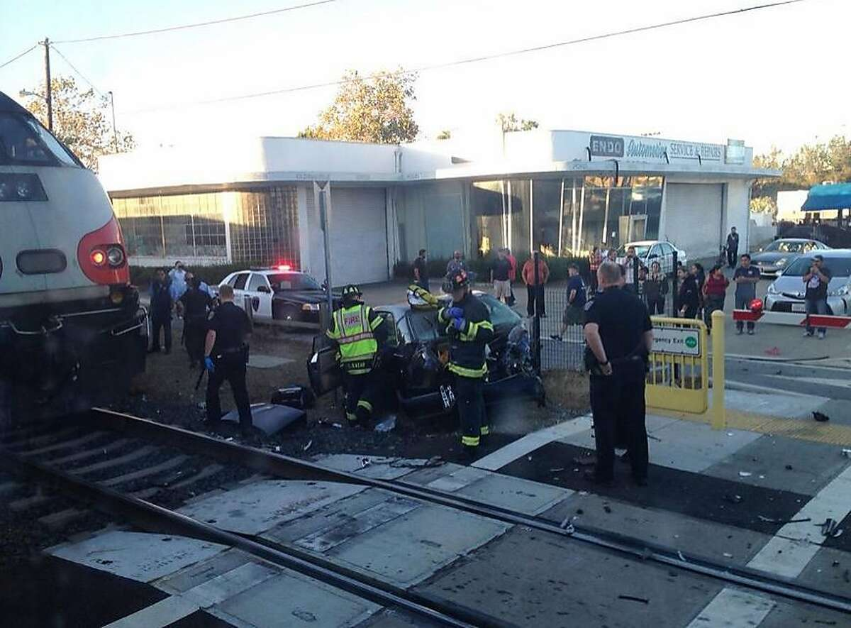 A car was struck by a Caltrain in San Mateo on the evening of Sept. 22. The driver suffered minor injuries and train service was briefly halted before the wreck was cleared.