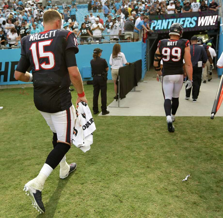 Texans quarterback Ryan Mallett (15) fell seven points short Sunday at Carolina, but he wasn't helped by several of his 58 passes being dropped. Photo: Brett Coomer, Staff / © 2015  Houston Chronicle
