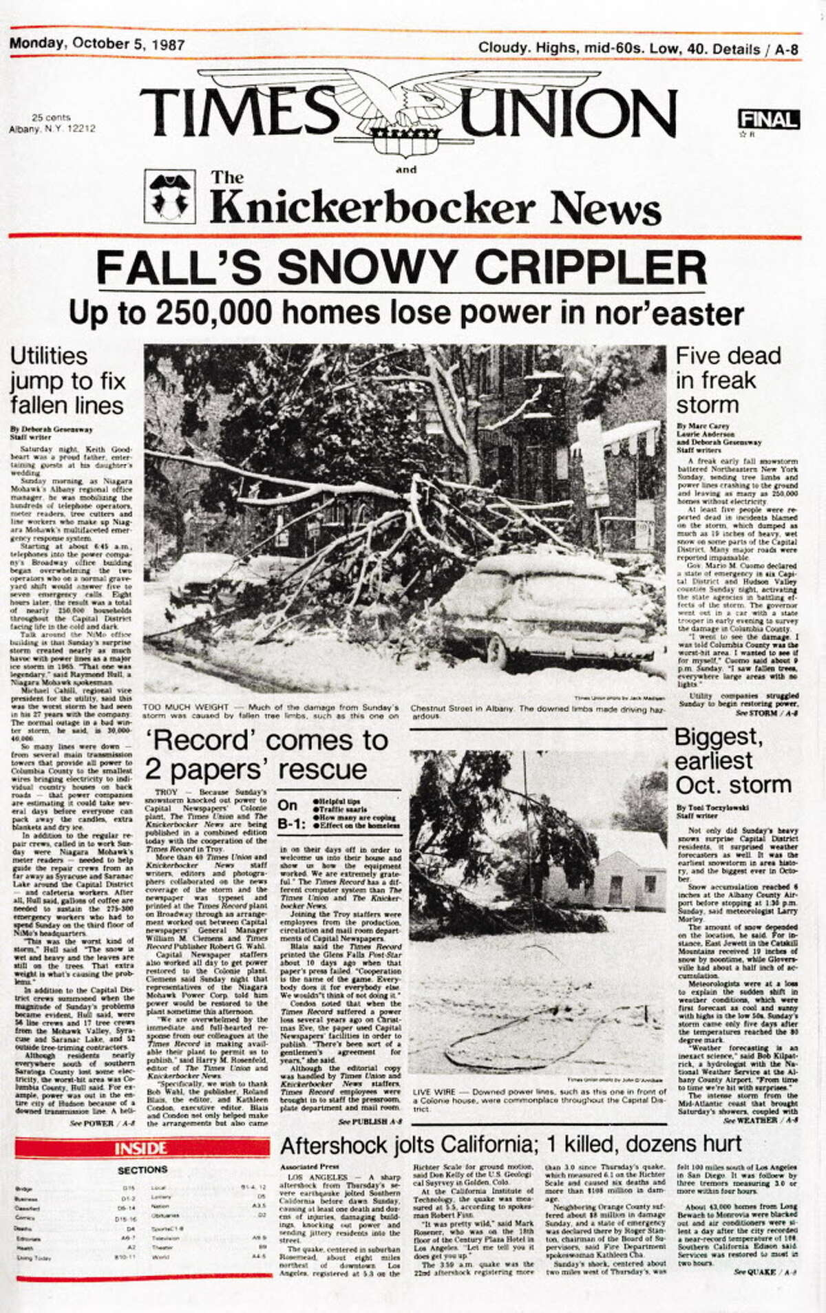 The front page of the combined issue of the Times Union and the Knickerbocker News covering the freak snowstorm on Oct. 4, 1987. The storm wiped out power, including to the Capital Region's newspapers.