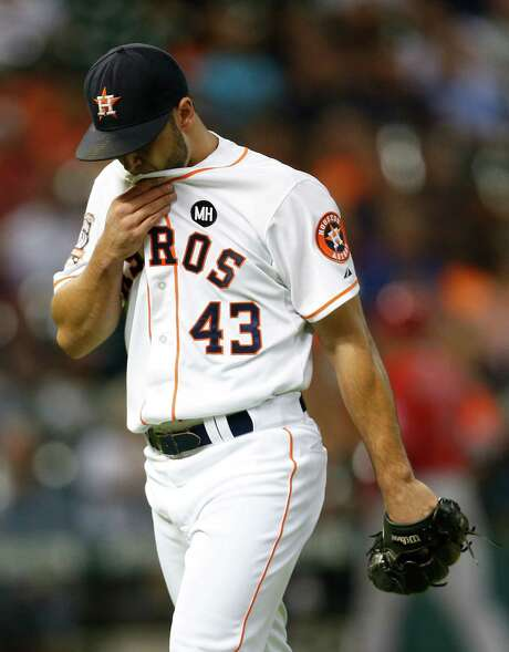 Astros starter Lance McCullers leaves the mound after giving up three runs in the first inning, the only damage in his seven-inning stint. Photo: Karen Warren, Staff / © 2015 Houston Chronicle