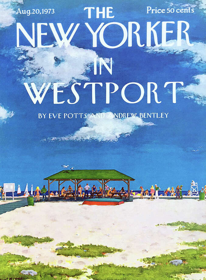 """A depiction of the Compo Beach pavilion painted by Alex Hubbell, one of the many illustrations from The New Yorker magazine that will be paired with photos of the same scenes in the new """"Talk of the Town"""" exhibit at the Westport Historical Society. Photo: Contributed / Contributed Photo / Westport News"""