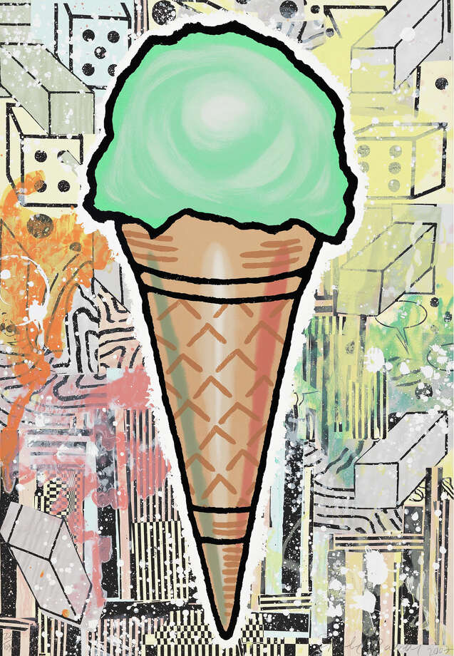 "Donald Baechler's ""Green Cone"" (2007), silkscreen in 31 colors, is on view at the Westport Arts Center through Saturday, Oct. 31. Photo: Contributed Photo"
