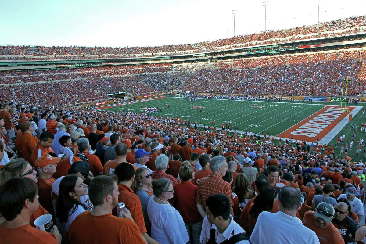 Texas' Darrell K. Royal Memorial Stadium a the start of an NCAA college football game between California and Texas, Saturday, Sept. 19, 2015, in Austin, Texas. (AP Photo/Michael Thomas)