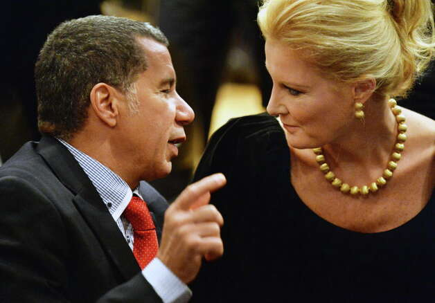 Former Governor David Paterson, left, and the Gov. Cuomo's girlfriend Sandra Lee during the 2014 State of the State Address Wednesday Jan. 8, 2014, in Albany, NY.  (John Carl D'Annibale / Times Union) Photo: John Carl D'Annibale / 00025205A