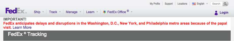 Photo: FedEx Screenshot