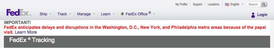 Photo: FedEx Screenshot