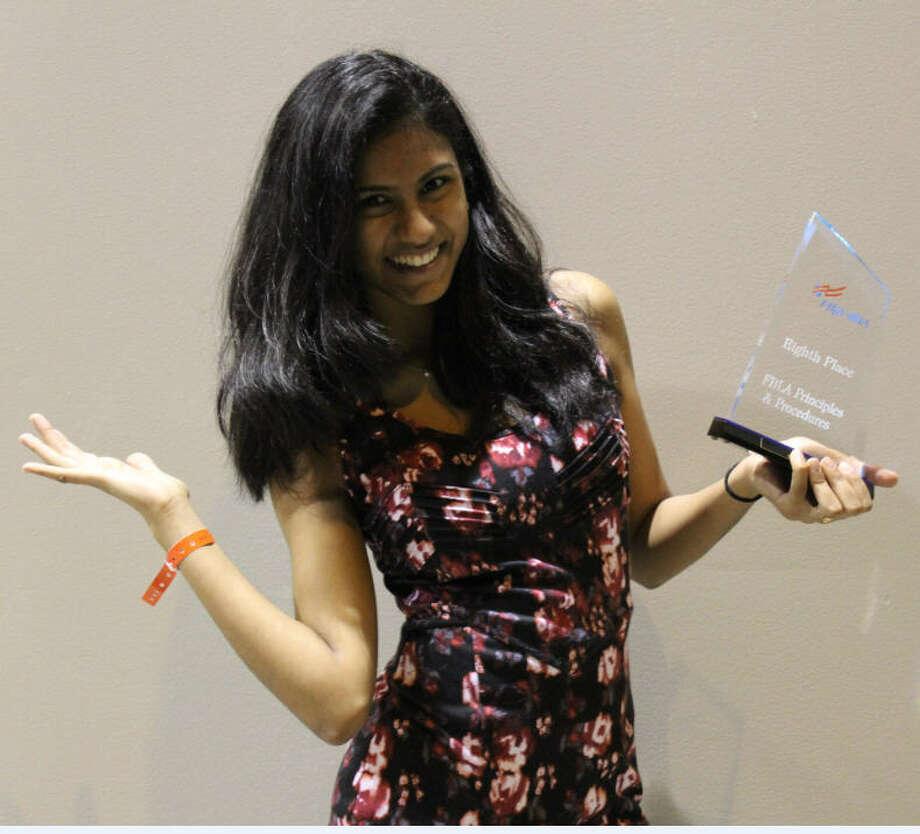 Meghana Pothugunta placed eighth in FBLA Principles and Procedures. Photo: Cinco Ranch FBLA