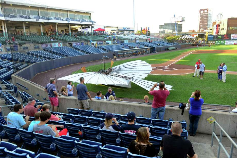 The Bridgeport Bluefish honored aviation pioneer Gustave Whitehead before the game at the Ballpark at Harbor Yard in Bridgeport on Aug. 14. Photo: Christian Abraham / Hearst Connecticut Media / Connecticut Post