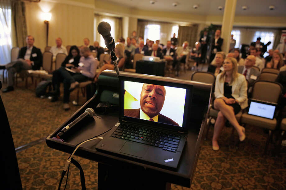 Candidate Ben Carson appears via Skype during the Silicon Valley GOP Forum in Menlo Park. Photo: Scott Strazzante / Scott Strazzante / The Chronicle / ONLINE_YES