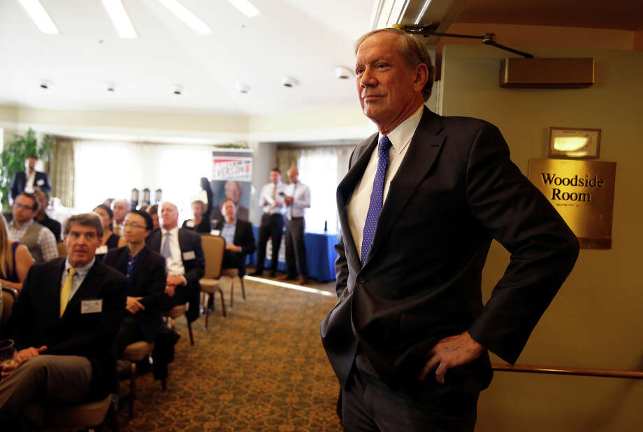 Former New York Gov. George Pataki is introduced at the forum, where he discussed tax policies that helped the nanotechnology industry in his state. Photo: Scott Strazzante / Scott Strazzante / The Chronicle / ONLINE_YES