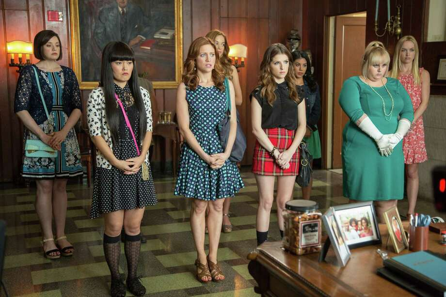 "This photo released by Universal Pictures shows, from left, Shelley Regner as Ashley, Hana Mae Lee as Lilly, Brittany Snow as Chloe, Alexis Knapp as Stacie, Anna Kendrick as Beca, Chrissie Fit as Flo, Rebel Wilson as Fat Amy, and Kelley Alice Jakle as Jessica, in a scene from the film, ""Pitch Perfect 2."" (Richard Cartwright/Universal Pictures via AP) ORG XMIT: CAET527 Photo: Richard Cartwright / Universal Pictures"