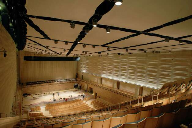 PAUL BUCKOWSKI/TIMES UNION  -- A view of the 1200 seat concert hall and the fabric ceiling which can be adjusted to control and change sound in the EMPAC building on the campus of RPI in Troy, NY on Thursday, Sept. 25, 2008. Photo: Paul Buckowski / 00000398A