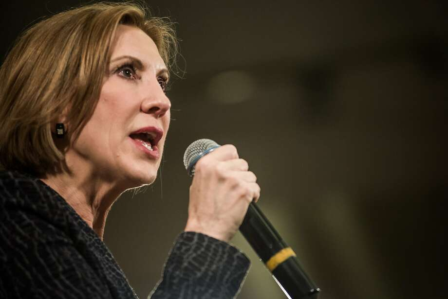 MYRTLE BEACH, SC - SEPTEMBER 22: Republican presidential candidate Carly Fiorina speaks to voters during a town hall meeting at the Ocean Reef Convention Center September 22, 2015 in Myrtle Beach, South Carolina. Fiorina is a former Chief Executive Officer of Hewlett-Packard and currently chairs the non-profit philanthropic organization Good360. (Photo by Sean Rayford/Getty Images) Photo: Sean Rayford, Getty Images
