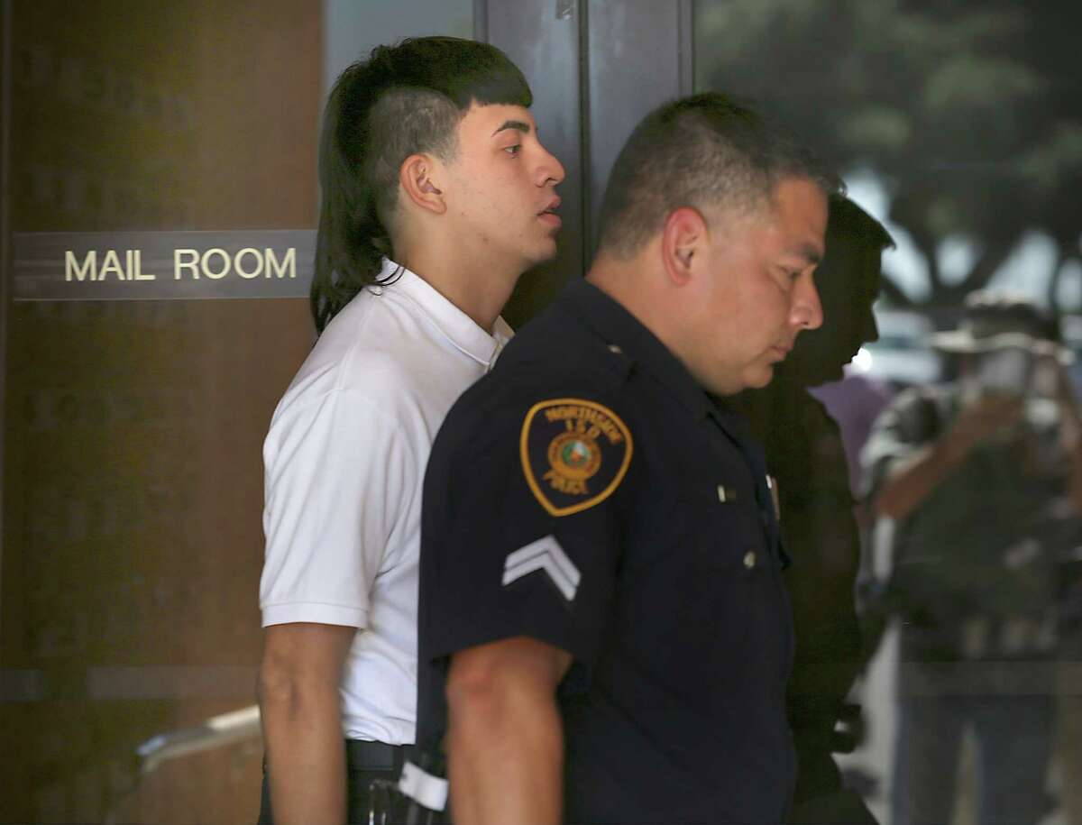 Jay High School Football player Victor Rojas at the NISD headquarters for a hearing on Wednesday.