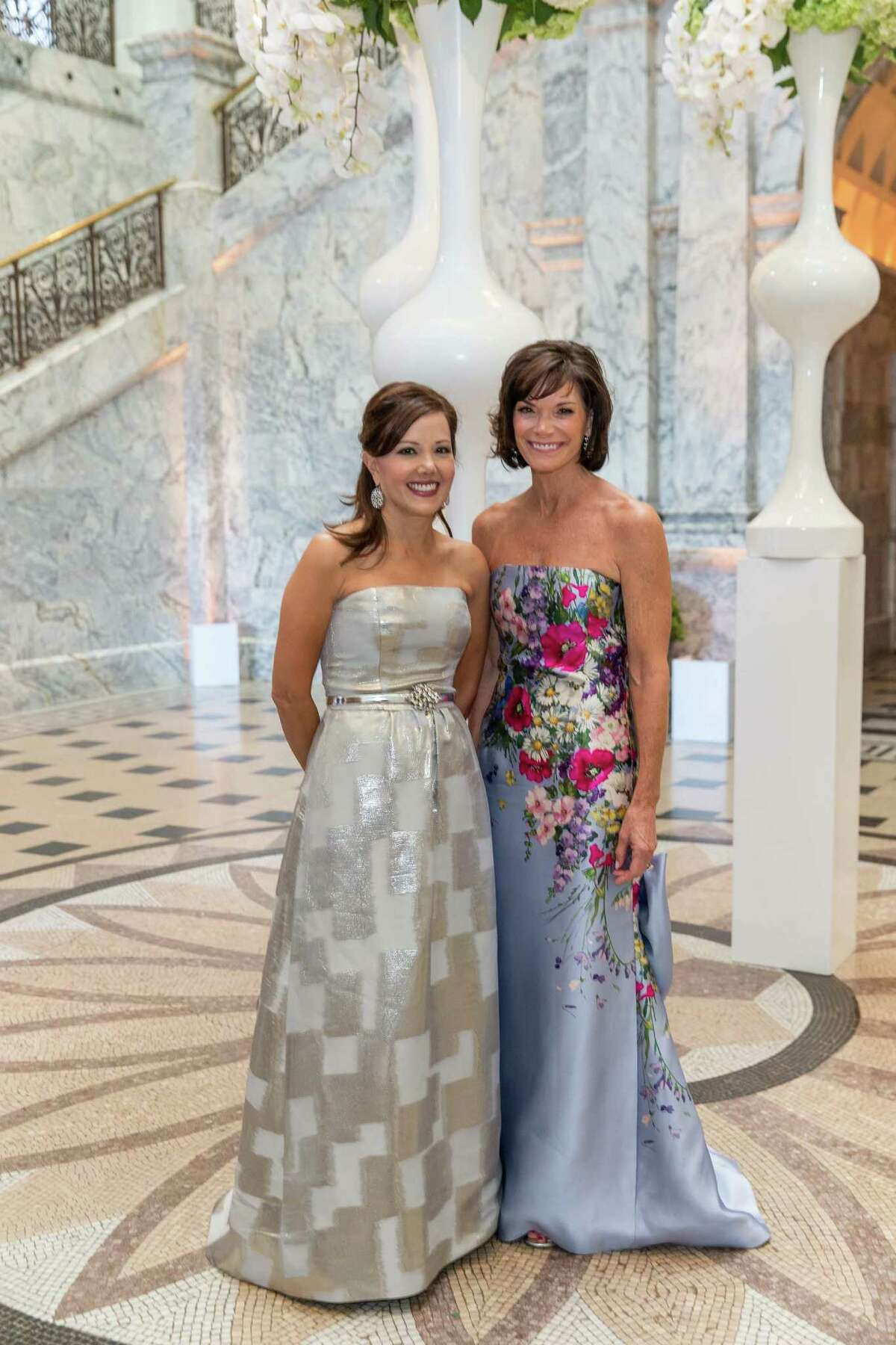Co-chairs of the event Michele Kirsch and Lisa Mooringat Rodin by Moonlight at the Cantor Arts Center on Sept. 19.
