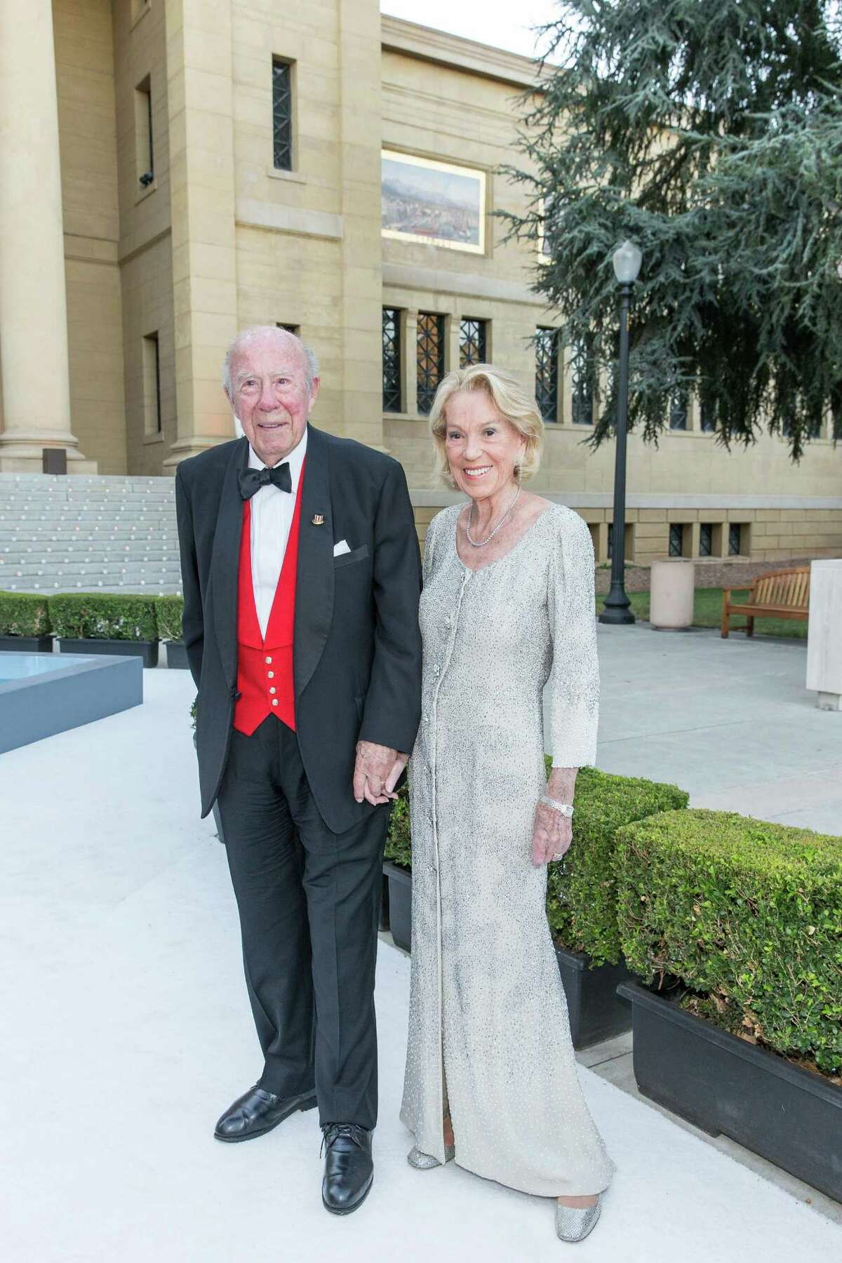 Former Secretary of State George Shultz, a Hoover Institution fellow at Stanford, and Charlotte Shultz, San Francisco chief of protocol, at Rodin by Moonlight at the Cantor Arts Center on Sept. 19.