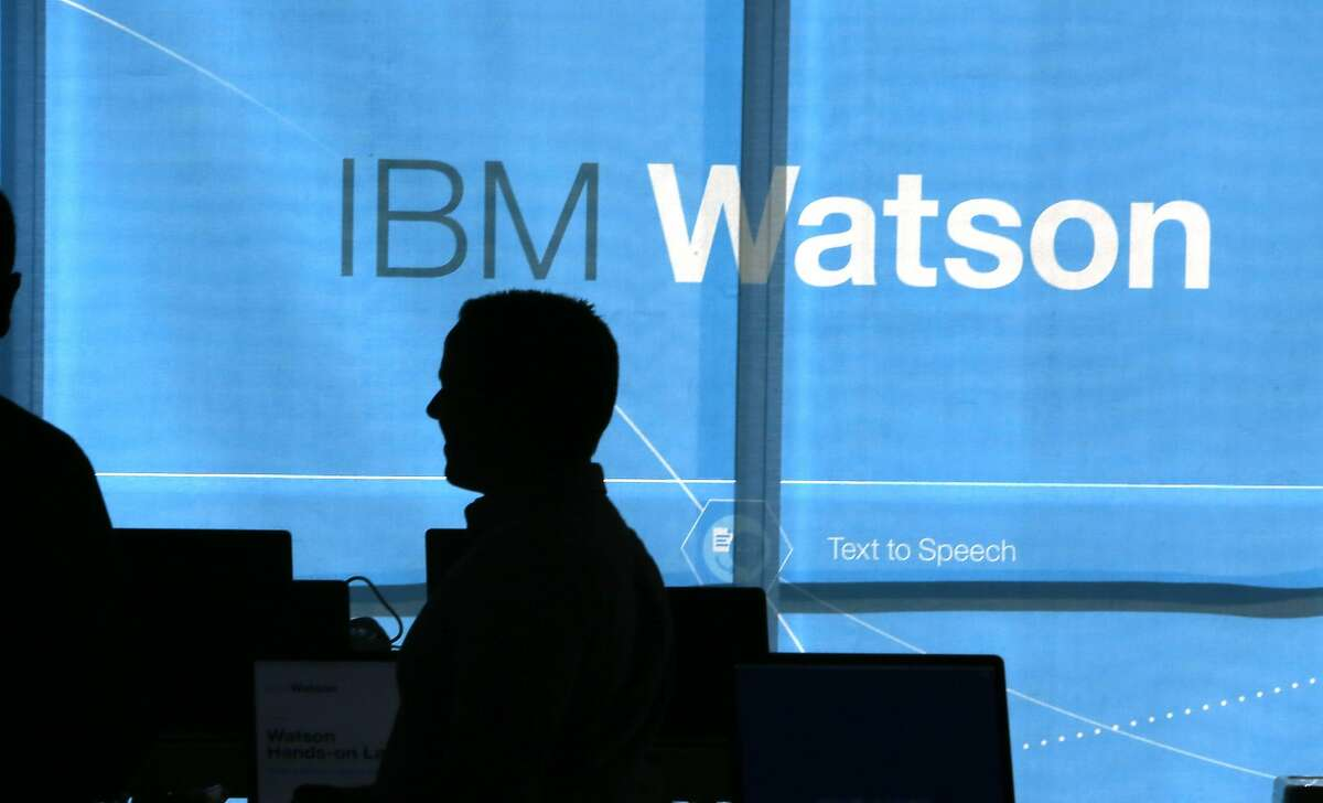 Technicians get ready for the opening of IBM Watson in San Francisco, Calif., on Wednesday, September 23, 2015. IBM is opening an office in San Francisco to commercialize Watson, a self thinking supercomputer.