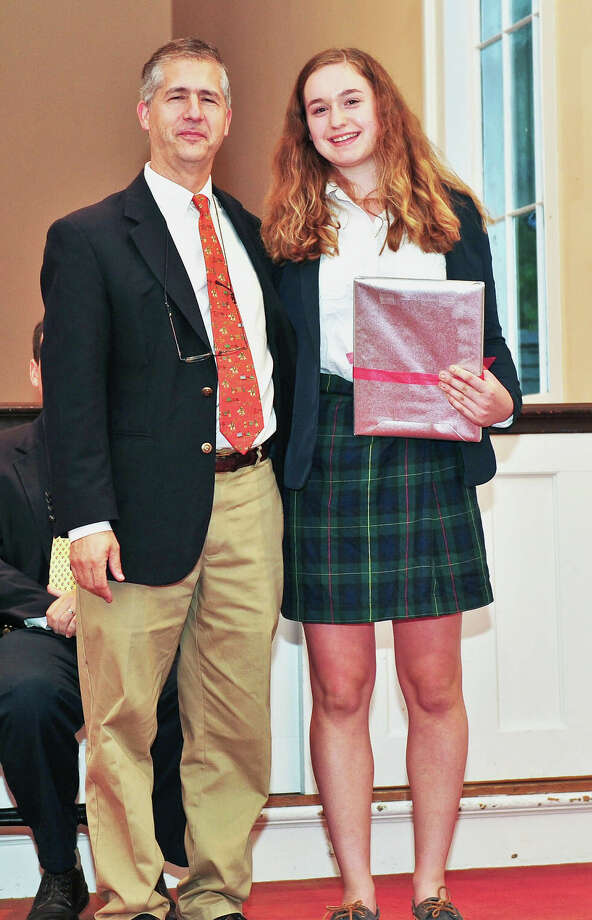 The Gunnery in Washington recently held its convocation service to kick off the 2015-16 school year. During the Sept. 11 ceremony, Gabrielle Bruck of New Milford, shown above with Chapin Miller, assistant head of school and academic dean, was named top scholar for the rising junior class. Photo: Courtesy Of The Gunnery / The News-Times Contributed