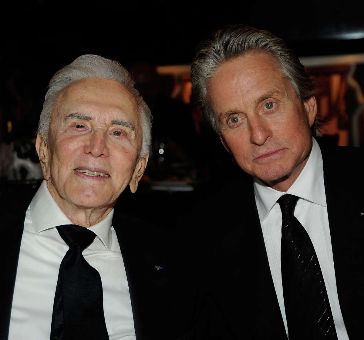 Actors Kirk Douglas and Michael Douglas in the audience during the AFI Lifetime Achievement Award: A Tribute to Michael Douglas held at Sony Pictures Studios on June 11, 2009 in Culver City, California. (Photo by Frazer Harrison/Getty Images for AFI)