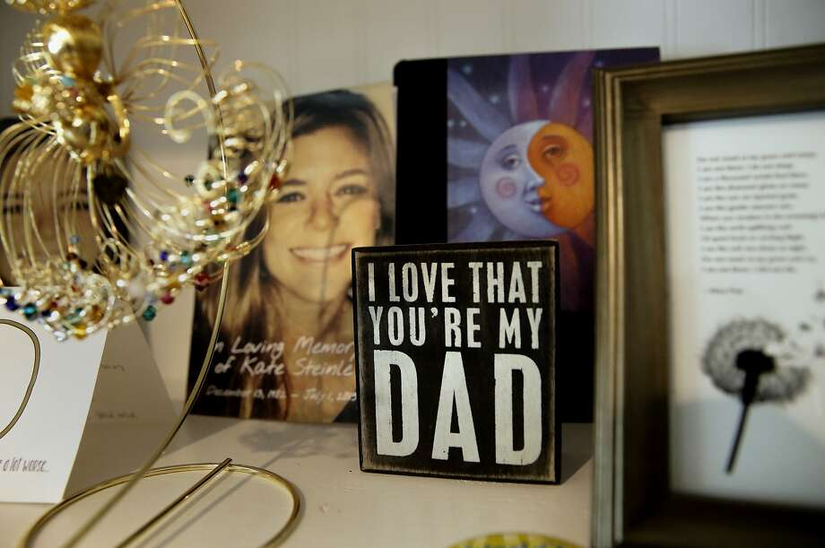 James Steinle and Liz Sullivan keep several shelves full of memories of the daughter at their home in Livermore, Calif. They are the mother and father of Kate Steinle who was shot and killed on Pier 14 in July, in San Francisco, Calif. Photo: Michael Macor, The Chronicle