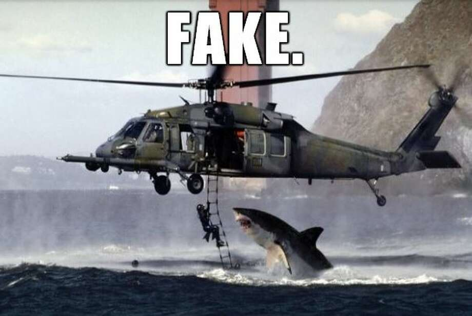 "The ""shark-attacking-a-helicopter"" fake photo has circulated on the Internet since 2005."