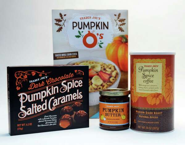 Pumpkin-spice-flavored products from Trader Joe's in the Times Union studio Tuesday Sept. 22, 2015 in Colonie, NY.  (John Carl D'Annibale / Times Union) Photo: John Carl D'Annibale / 00033442A